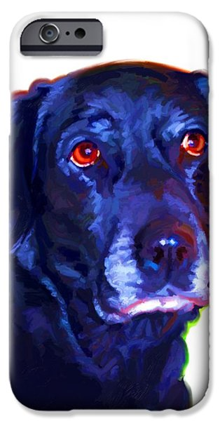 Cute Puppy Pictures Digital Art iPhone Cases - Black Labrador Art iPhone Case by Iain McDonald