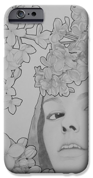Lilacs Drawings iPhone Cases - Blooming Girl Lilac  iPhone Case by Aaron El-Amin