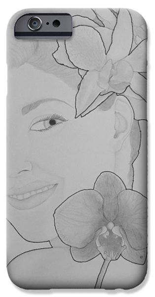 Aaron Drawings iPhone Cases - Blooming Girl Orchid and Gardenia  iPhone Case by Aaron El-Amin