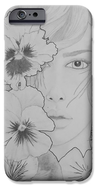 Aaron Drawings iPhone Cases - Blooming Girl Pansy  iPhone Case by Aaron El-Amin