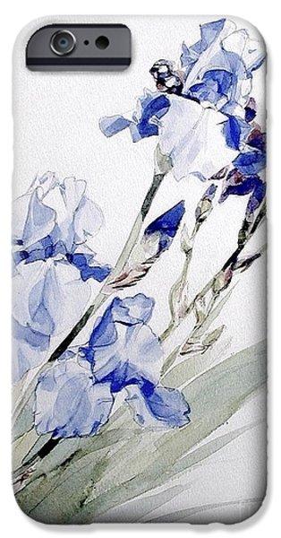 Botanic Illustration iPhone Cases - Blue Iris iPhone Case by Greta Corens
