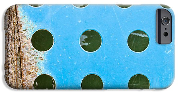 Aperture Photographs iPhone Cases - Blue metal iPhone Case by Tom Gowanlock