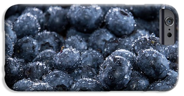 Berry iPhone Cases - Blueberry Background iPhone Case by Handmade Pictures