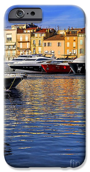 Yachts iPhone Cases - Boats at St.Tropez iPhone Case by Elena Elisseeva