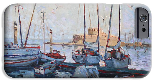 Rhodes iPhone Cases - Boats in Rhodes Greece  iPhone Case by Ylli Haruni