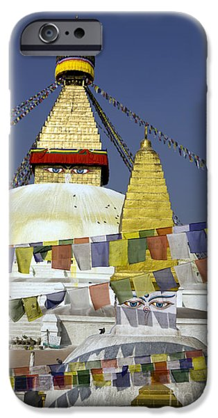 Tibetan Buddhism iPhone Cases - Bodnath Stupa Kathmandu Valley Nepal iPhone Case by Kevin Miller