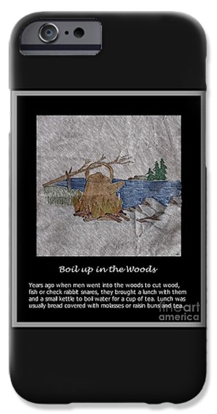 Snack Drawings iPhone Cases - Boil Up in the Woods iPhone Case by Barbara Griffin