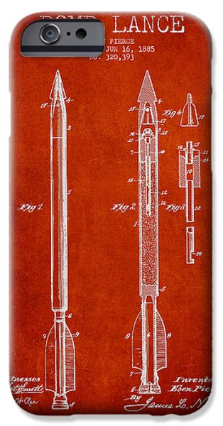 Explosion Digital iPhone Cases - Bomb Lance Patent Drawing from 1885 iPhone Case by Aged Pixel
