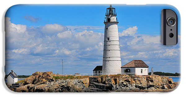 New England Lighthouse iPhone Cases - Boston Light iPhone Case by Catherine Reusch  Daley