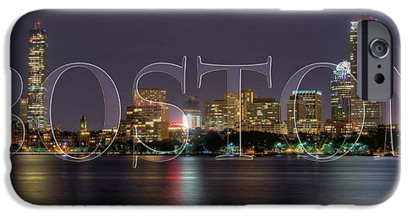 Charles River iPhone Cases - Boston Skyline Poster iPhone Case by Joann Vitali