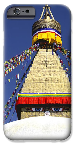 Tibetan Buddhism iPhone Cases - Boudhanath Stupa iPhone Case by Vishva Vajra