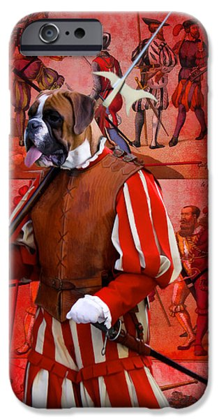 Boxer iPhone Cases - Boxer Art Canvas Print iPhone Case by Sandra Sij