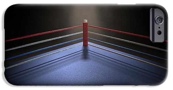 Fight Digital iPhone Cases - Boxing Corner Spotlit Dark iPhone Case by Allan Swart