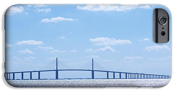Kiteboarding iPhone Cases - Bridge Across A Bay, Sunshine Skyway iPhone Case by Panoramic Images