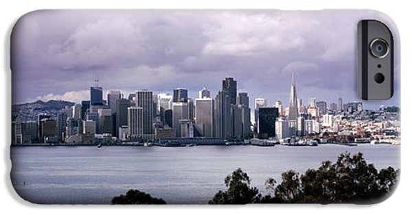Built Structure iPhone Cases - Bridge Across A Bay With City Skyline iPhone Case by Panoramic Images