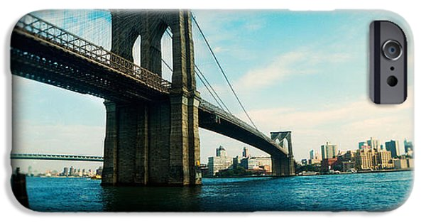 Selective Focus iPhone Cases - Bridge Across A River, Brooklyn Bridge iPhone Case by Panoramic Images