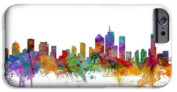 Australia Digital iPhone Cases - Brisbane Australia Skyline iPhone Case by Michael Tompsett