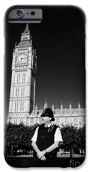 Police Officer iPhone Cases - british metropolitan police office guarding the houses of parliament London England UK iPhone Case by Joe Fox