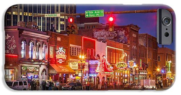 Evening Scenes iPhone Cases - Broadway Street Nashville iPhone Case by Brian Jannsen
