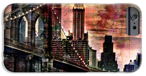 Brooklyn Bridge Mixed Media iPhone Cases - Brooklyn Bridge iPhone Case by Christine Mayfield