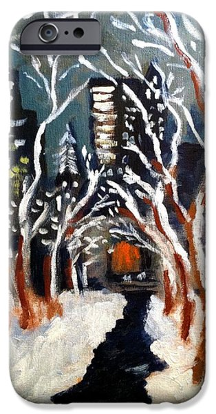 Bryant Park Winter Night NYC iPhone Case by Jean Messner
