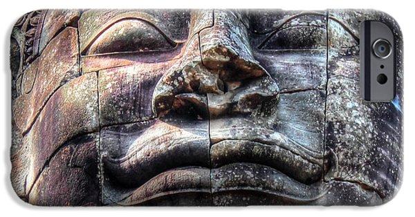 Wild Animals Pyrography iPhone Cases - Budda iPhone Case by Yury Bashkin