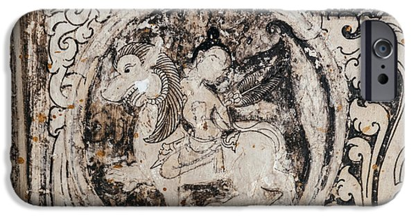 Mythical Creatures iPhone Cases - Buddhist Mural iPhone Case by Dean Harte