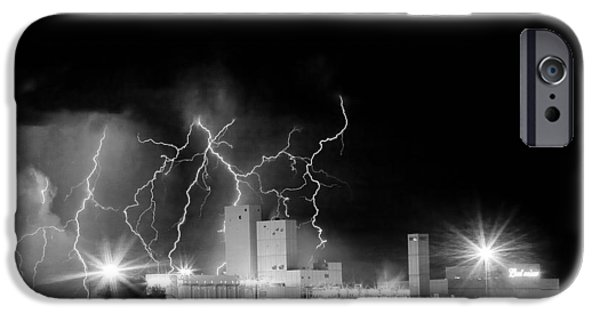 Lightning Images iPhone Cases - Budweiser Lightning Thunderstorm Moving Out BW iPhone Case by James BO  Insogna