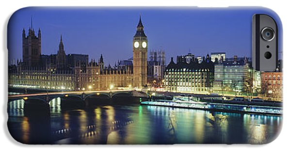 Pastel iPhone Cases - Buildings Lit Up At Dusk, Big Ben iPhone Case by Panoramic Images