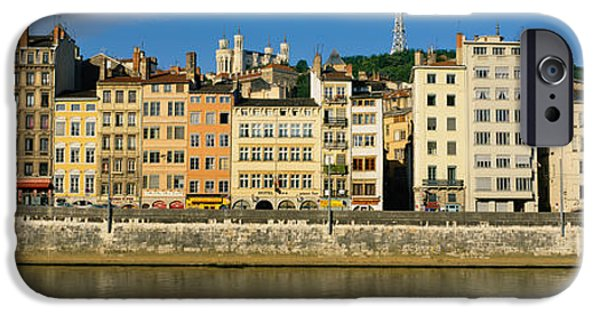 Lyon iPhone Cases - Buildings On The Waterfront, Saone iPhone Case by Panoramic Images