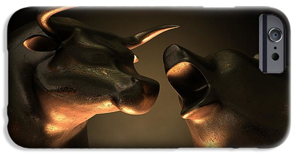 Finance iPhone Cases - Bull And Bear Market Statues iPhone Case by Allan Swart
