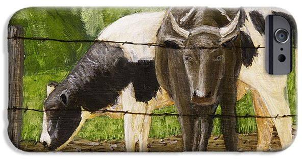 Maine Landscapes Paintings iPhone Cases - Bull And Cow Spring Farm Field  iPhone Case by Keith Webber Jr