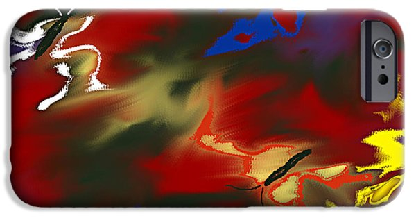 Abstract Digital Paintings iPhone Cases - Butterflies Dance iPhone Case by Thomas Bryant