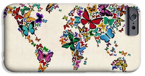 World Digital Art iPhone Cases - Butterflies Map of the World iPhone Case by Michael Tompsett