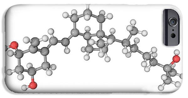 Atom Photographs iPhone Cases - Calcitriol Molecule iPhone Case by Laguna Design