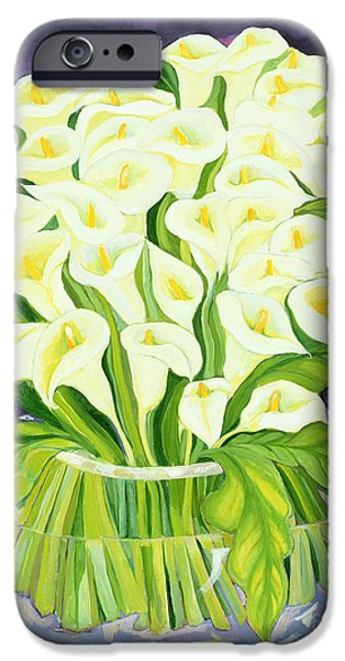 In Bloom Paintings iPhone Cases - Calla Lilies iPhone Case by Laila Shawa