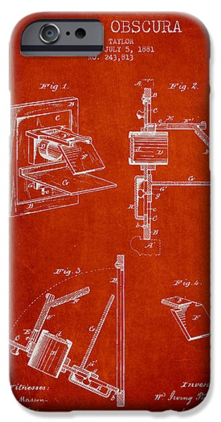 Camera iPhone Cases - Camera Obscura Patent Drawing From 1881 iPhone Case by Aged Pixel
