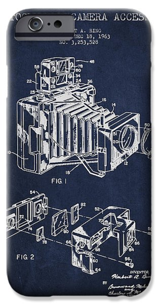 Film Camera iPhone Cases - Camera Patent Drawing From 1963 iPhone Case by Aged Pixel