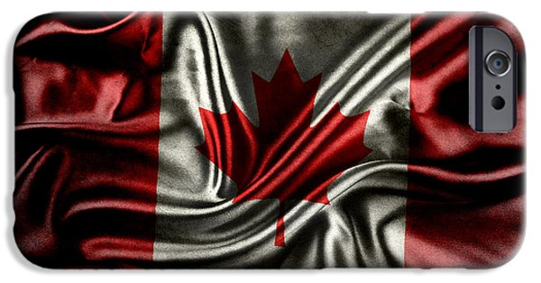 Textile Photographs iPhone Cases - Canadian flag  iPhone Case by Les Cunliffe