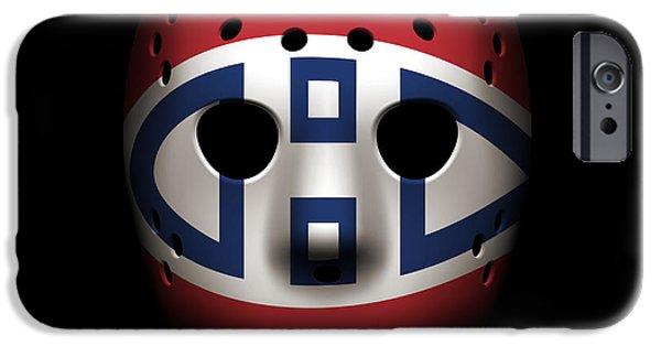 Montreal Canadiens iPhone Cases - Canadiens Goalie Mask iPhone Case by Joe Hamilton