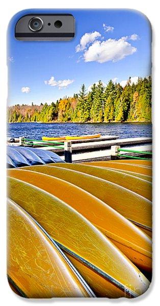 Canoes on autumn lake iPhone Case by Elena Elisseeva