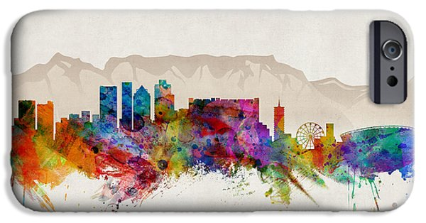 Towns Digital Art iPhone Cases - Cape Town South Africa Skyline iPhone Case by Michael Tompsett