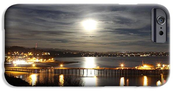 Santa Cruz Wharf iPhone Cases - Capitola Moonscape iPhone Case by Deana Glenz