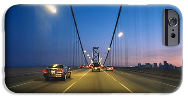 Bay Bridge iPhone Cases - Cars On A Suspension Bridge, Bay iPhone Case by Panoramic Images