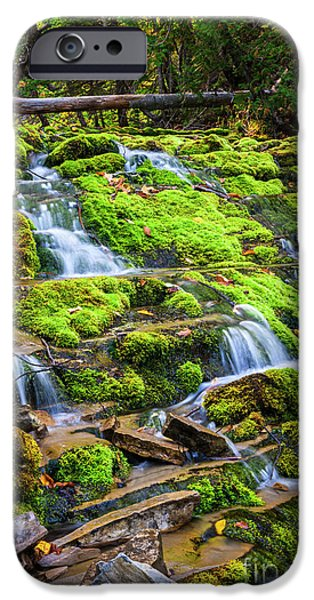 Calmness iPhone Cases - Cascading waterfall iPhone Case by Elena Elisseeva