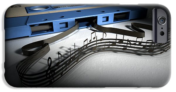 Eighties iPhone Cases - Cassette Tape And Musical Notes Concept iPhone Case by Allan Swart