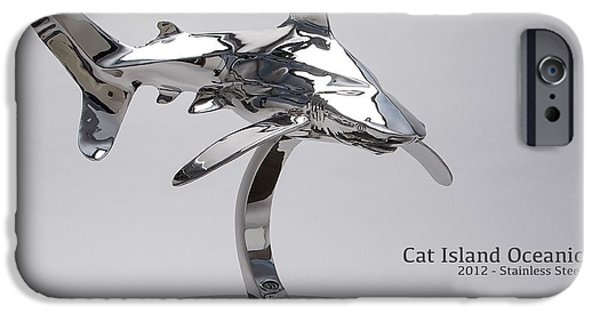 Sharks Sculptures iPhone Cases - Cat Island Oceanic shark iPhone Case by Victor Douieb