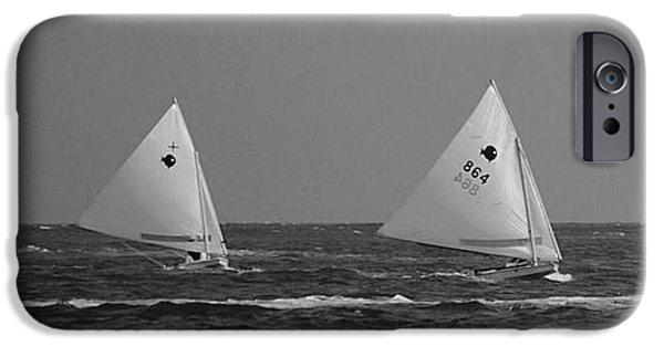 Sailboats iPhone Cases - Catch Me If You Can iPhone Case by Bob Sample