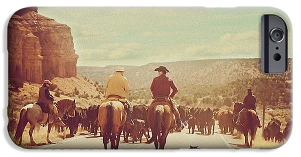 Western Landscape iPhone Cases - Cattle Call iPhone Case by Carolyn Rauh