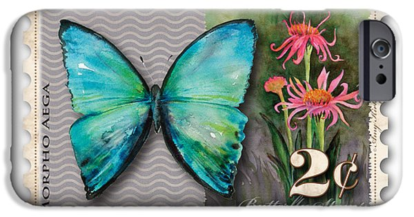 Cone Flower iPhone Cases - 2 Cent Butterfly Stamp iPhone Case by Amy Kirkpatrick